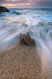 Montaña de Oro State Park, California, beach, coast, landscape, waves, sunset, rock, sand