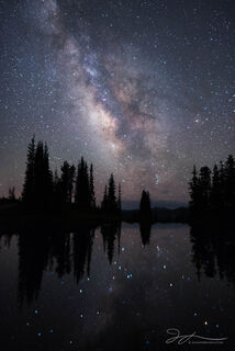 Crested Butte, Colorado, Washington Gulch, Paradise Divide, astrophotography, stars, milky way, summer, reflection, alpine pond, trees, night sky