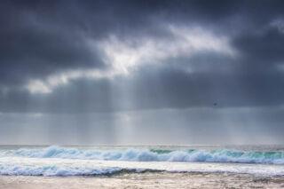 La Jolla, California, waves, beach, coast, landscape, clearing storm, sun beams