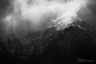 Eastern Sierra, California, Alabama Hills, clearing storm, black and white, monochrome, winter, mountains, clouds, Lone Pine, landscape