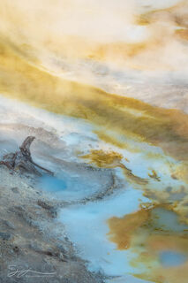 Norris Geyser Basin, Yellowstone national park, Porcelain Spring, morning, sunrise, steam, thermal feature, landscape, small scene, thermophiles, Wyoming