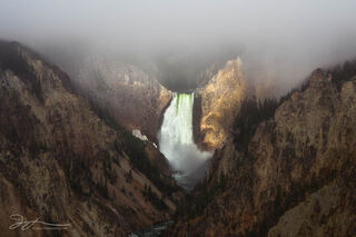 Lower Falls, Grand Canyon of the Yellowstone, Wyoming, Yellowstone national park, waterfall, landscape, fog, clearing, morning, Artist Point