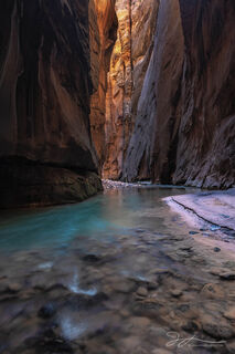 Zion Narrows, canyon, Zion National park, autumn, Utah, slot canyon, Virgin River landscape, shore, reflected light
