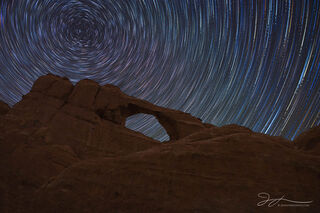 Arches national park, Utah, astrophotography, star trails, Skyline Arch, summer, desert, night photography, sandstone, stars