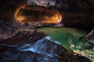 The Subway, Zion national park, Utah, autumn, canyon, leaves, river, long exposure, landscape, reflected light