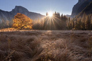 Yosemite National Park, autumn, California, cook's meadow sunrise, half dome, landscape, morning