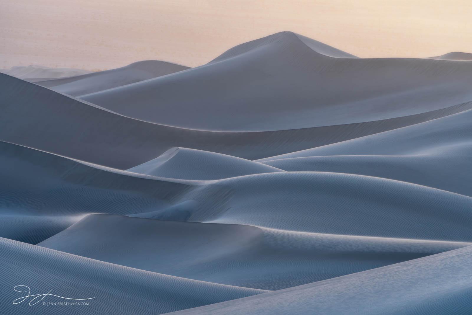 Death Valley National Park, Mojave Desert,  California, sunset, sand, backlit, Mesquite Dunes, sand, landscape, blue hour, windstorm, blowing sand, photo