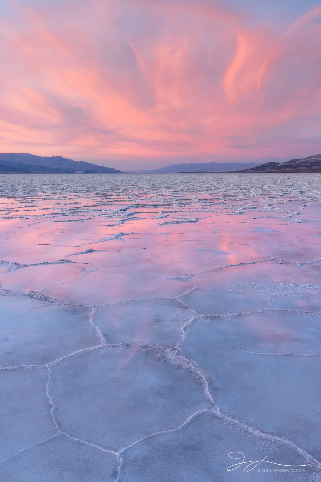 Badwater Basin, Death Valley National Park, California, landscape, sunset, reflection, flooded, salt polygons, photo