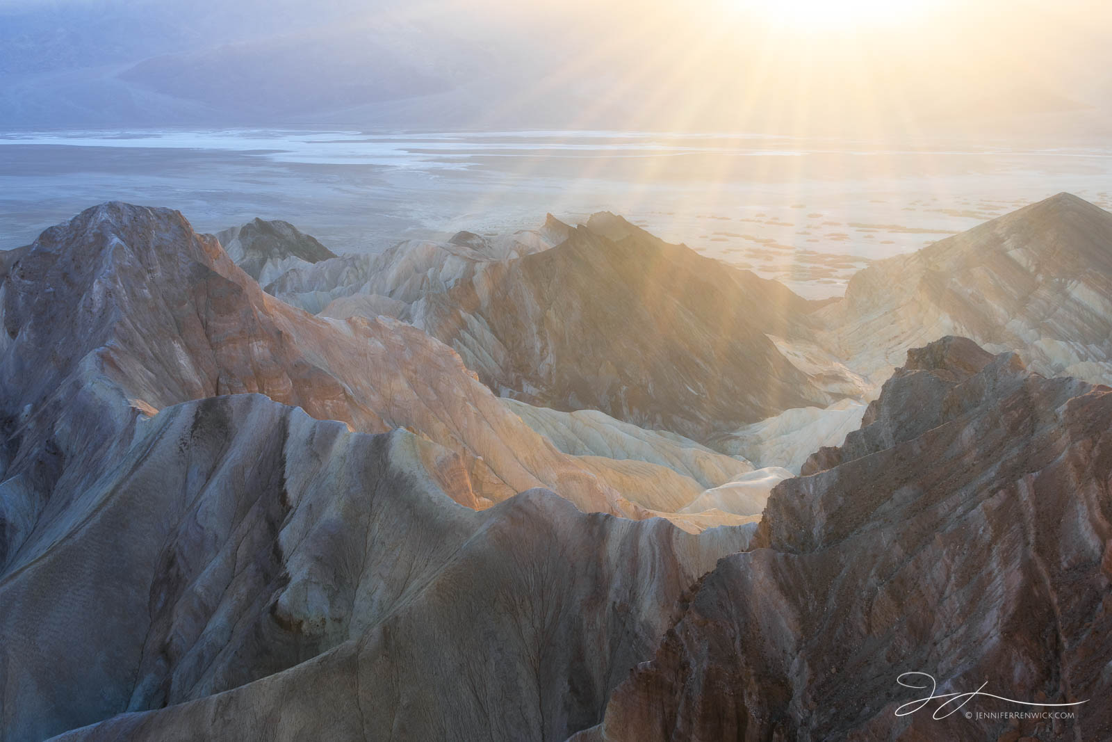 Death Valley National Park, Mojave Desert, Zabriskie Point, California, sunset, layers, backlit, badlands, landscape, ridges, photo