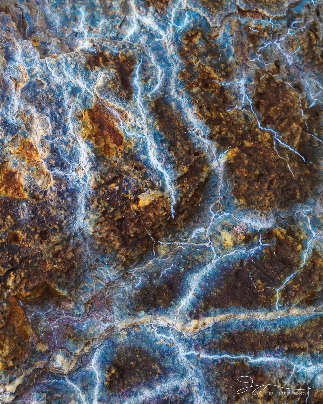 Patterns on a rock resemble electric currents.
