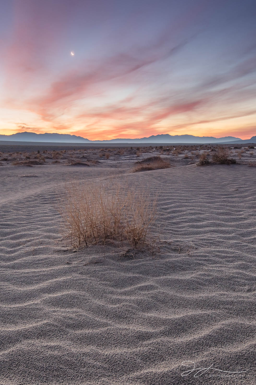 The moon rises over an early morning scene in Death Valley National Park.