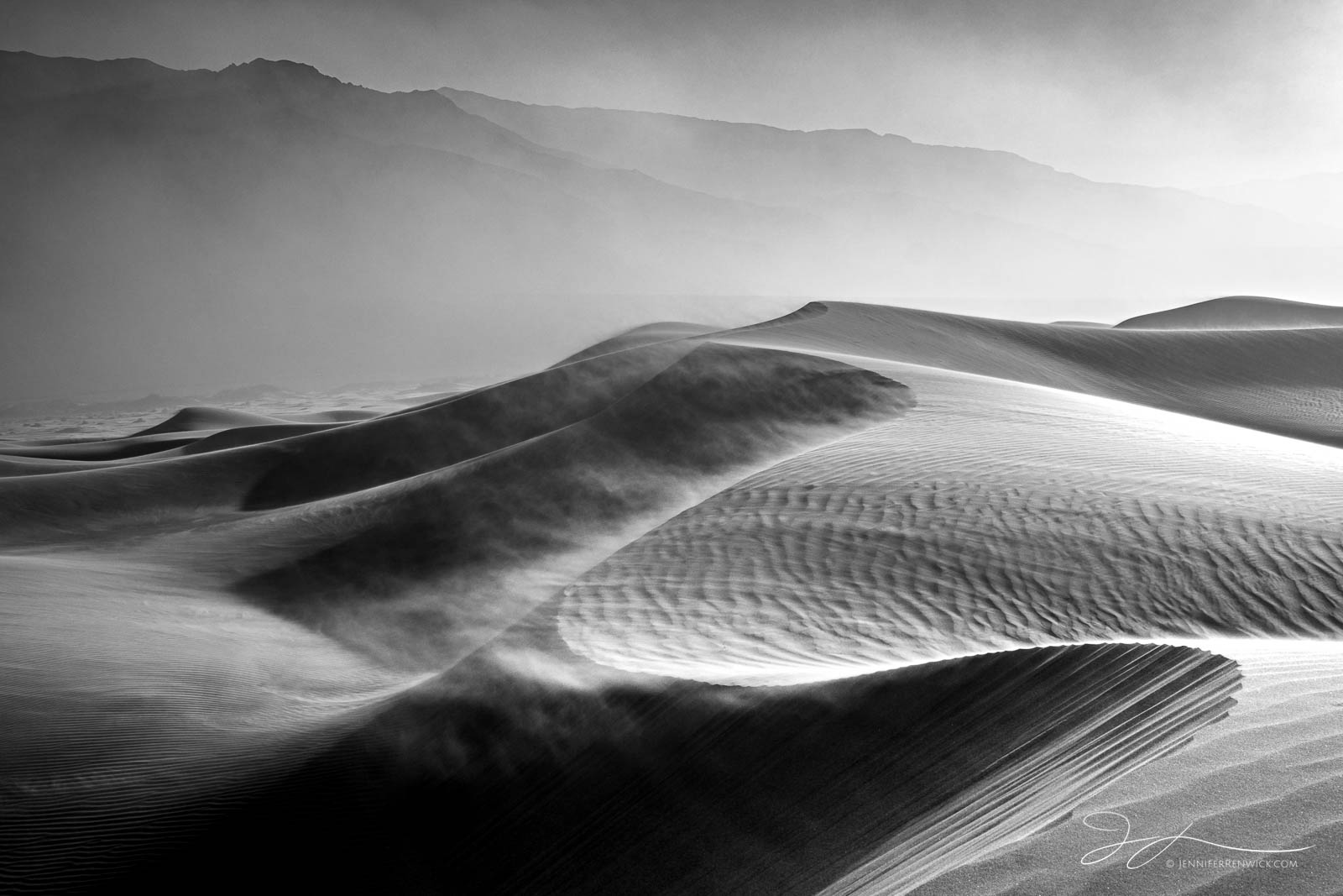 Death Valley National Park, Mojave Desert,  California, sand, backlit, Mesquite Dunes, sand, landscape photography, black and white photography, monochrome, photo