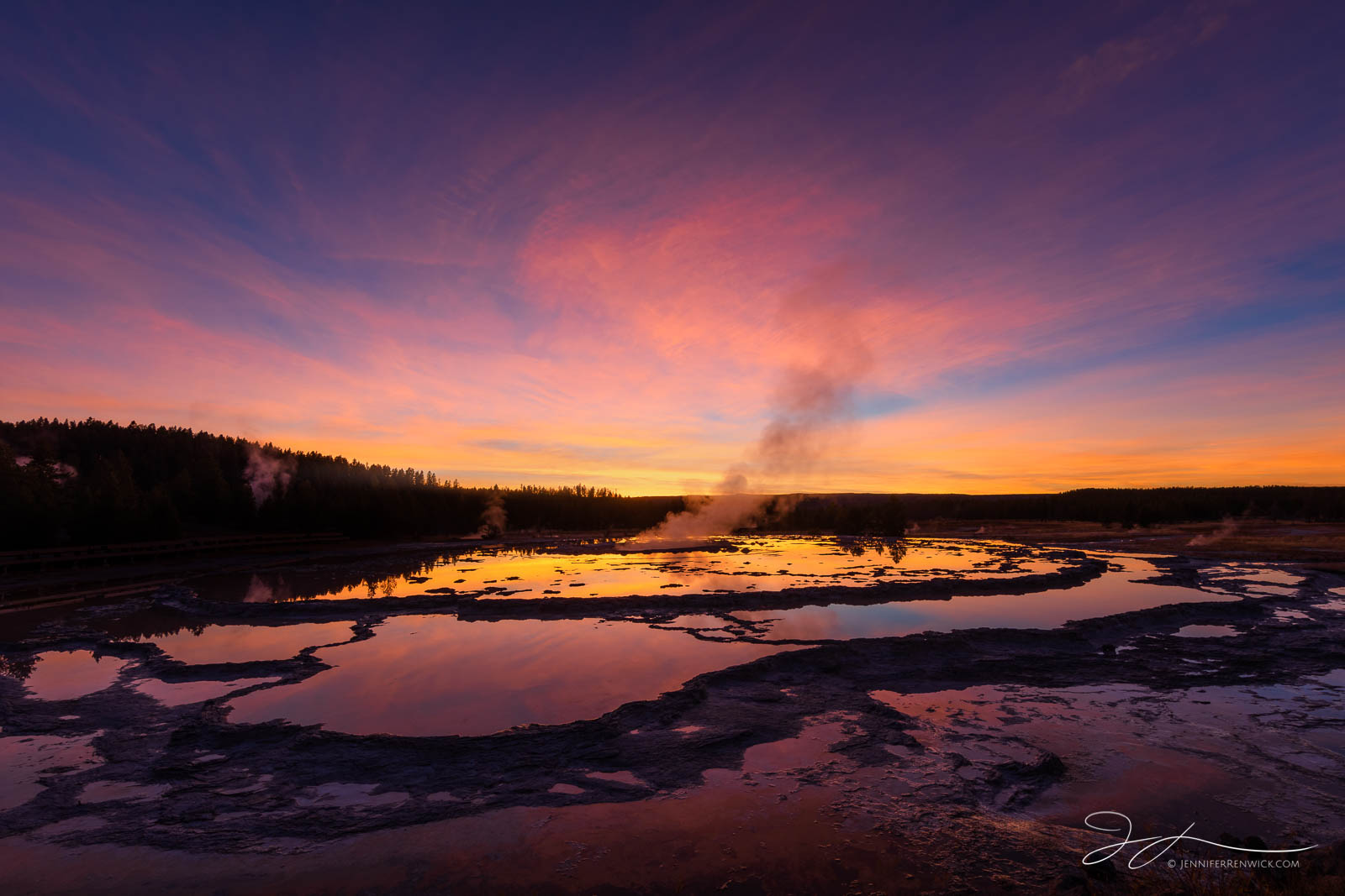Firehole Lake Drive, Great Fountain Geyser, Yellowstone national park, autumn, clouds, pools, reflection, sky, steam, sunset, terraces, photo