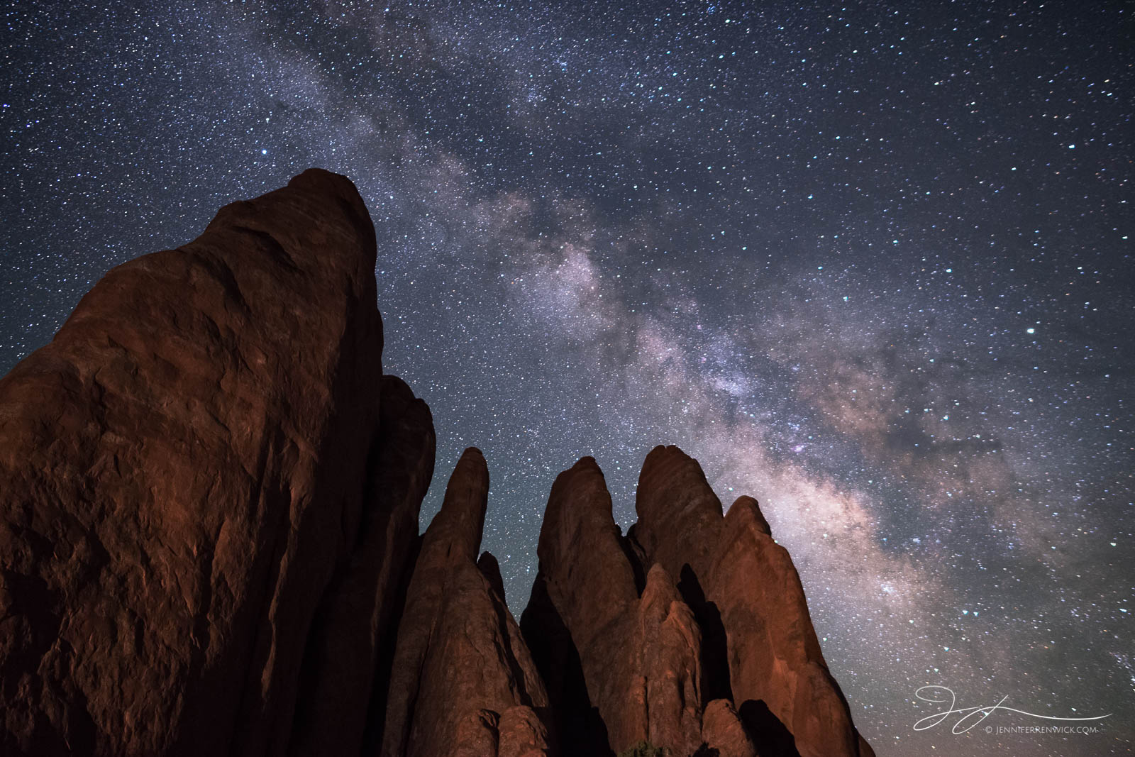 The Fins reach up to the night sky in Arches National Park.