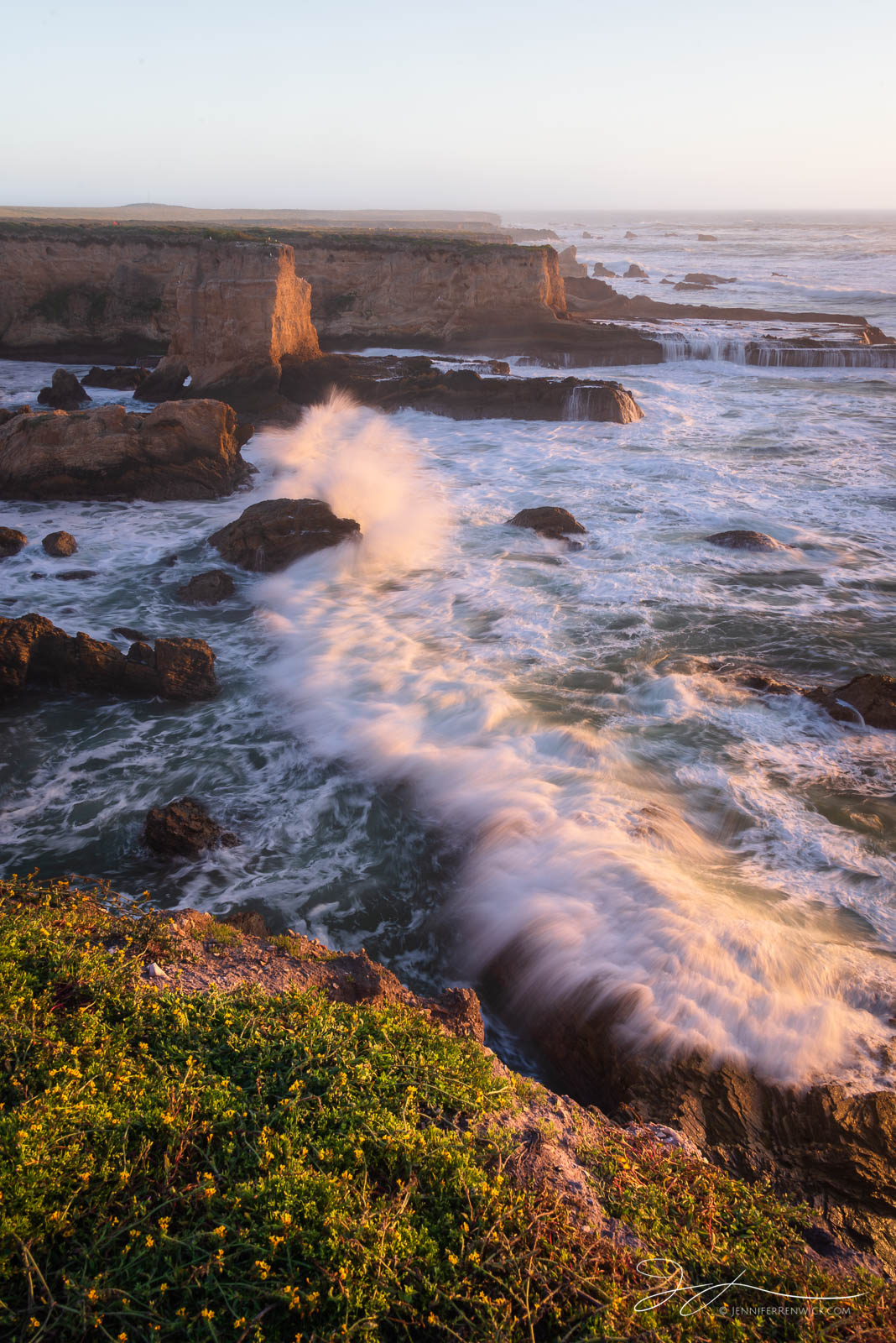 Waves roll in on a spring evening in Montaña De Oro State Park in southern California.