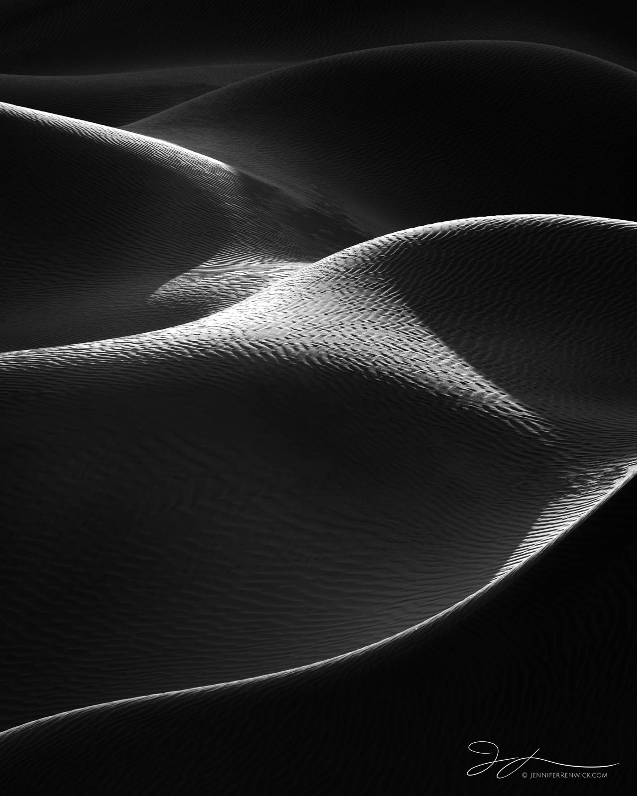 Death Valley National Park, Mojave Desert,  California, sunrise, sand, backlit, Mesquite Dunes, sand, landscape photography, black and white photography, monochrome, photo