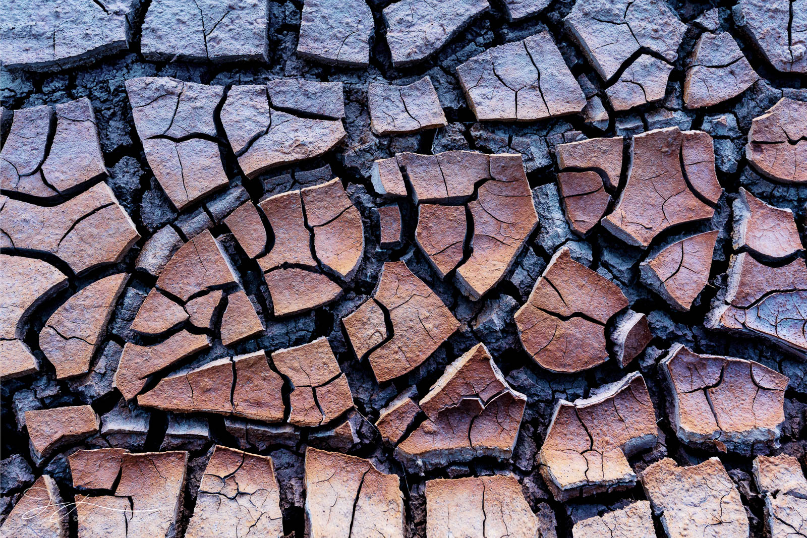 A small area of mud cracks takes on the colors of the desert in an ombré color pattern.