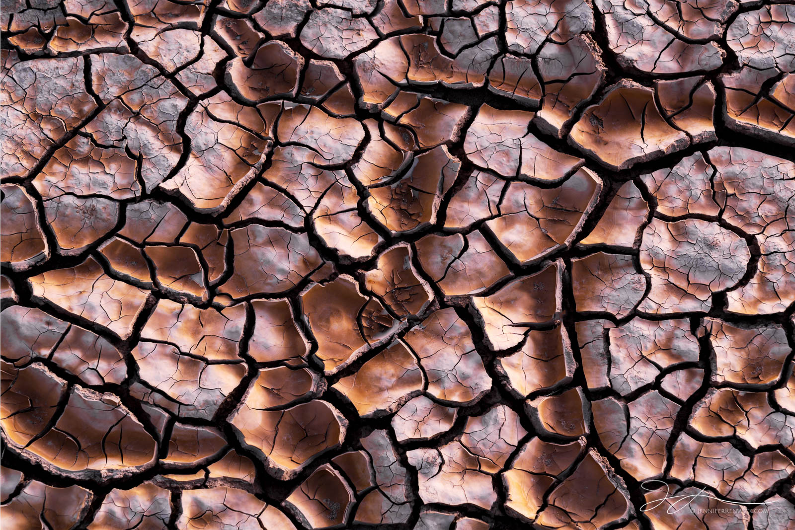 Small mud cracks within larger cracks create pathways through the dried mud on the desert floor.