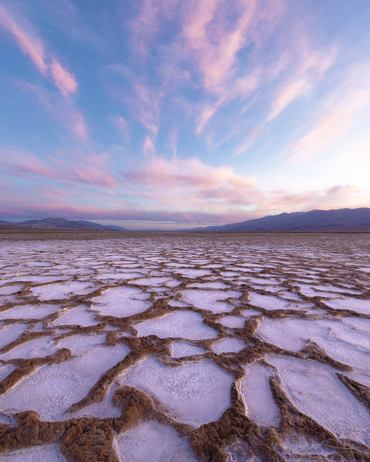 Salt circles take on a pink hue during sunset in Death Valley National Park.