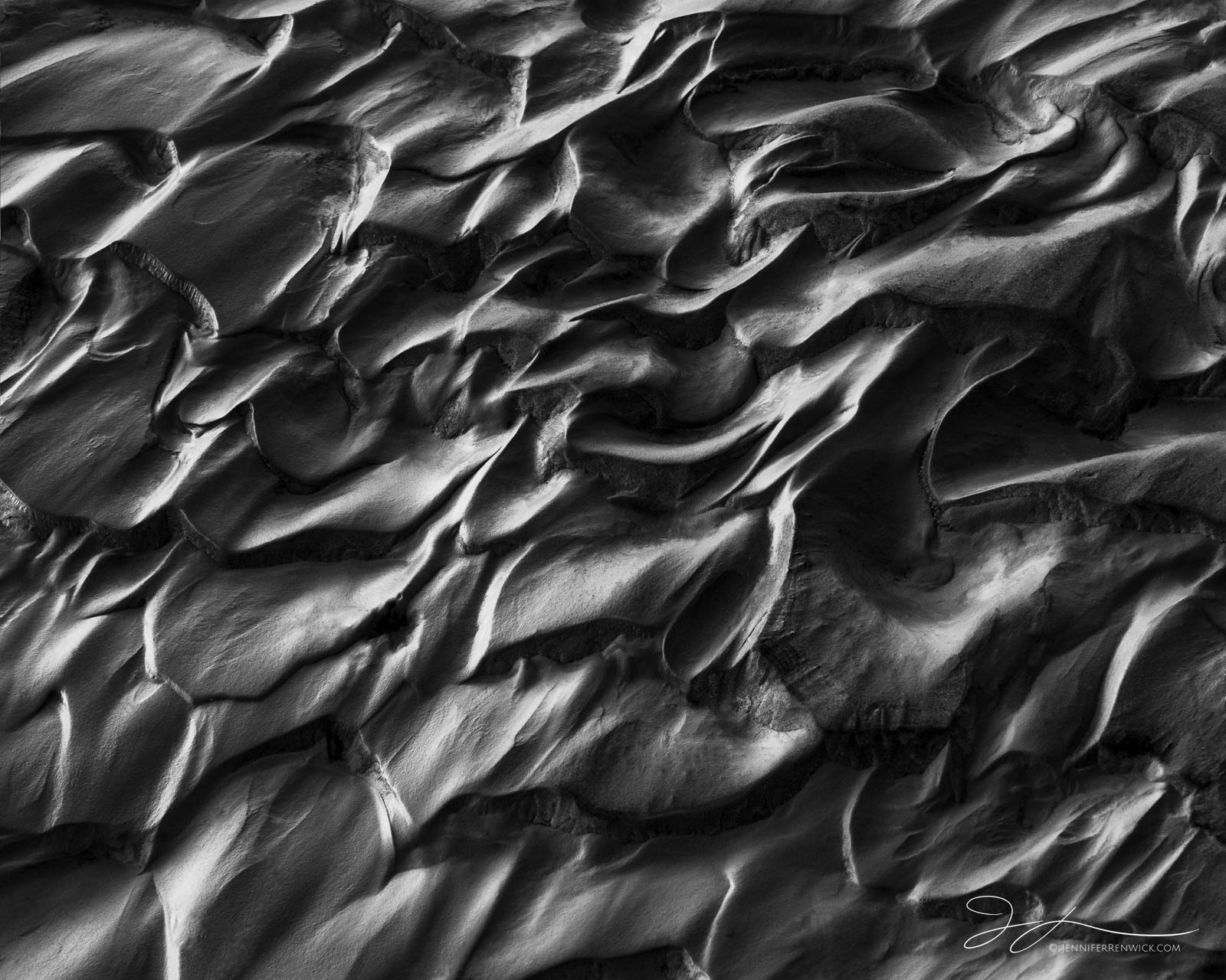 Death Valley National Park, abstract photography, black and white, monochrome, textures, patterns, mud, California, Mojave Desert, ripples, playa, photo