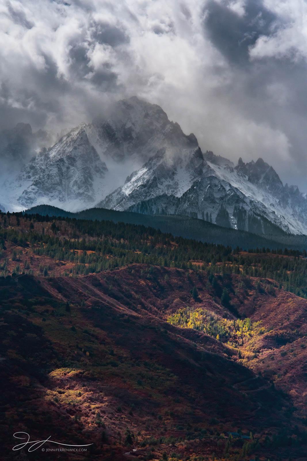 Mt. Sneffels overlooks an autumn valley near Ridgway, Colorado.