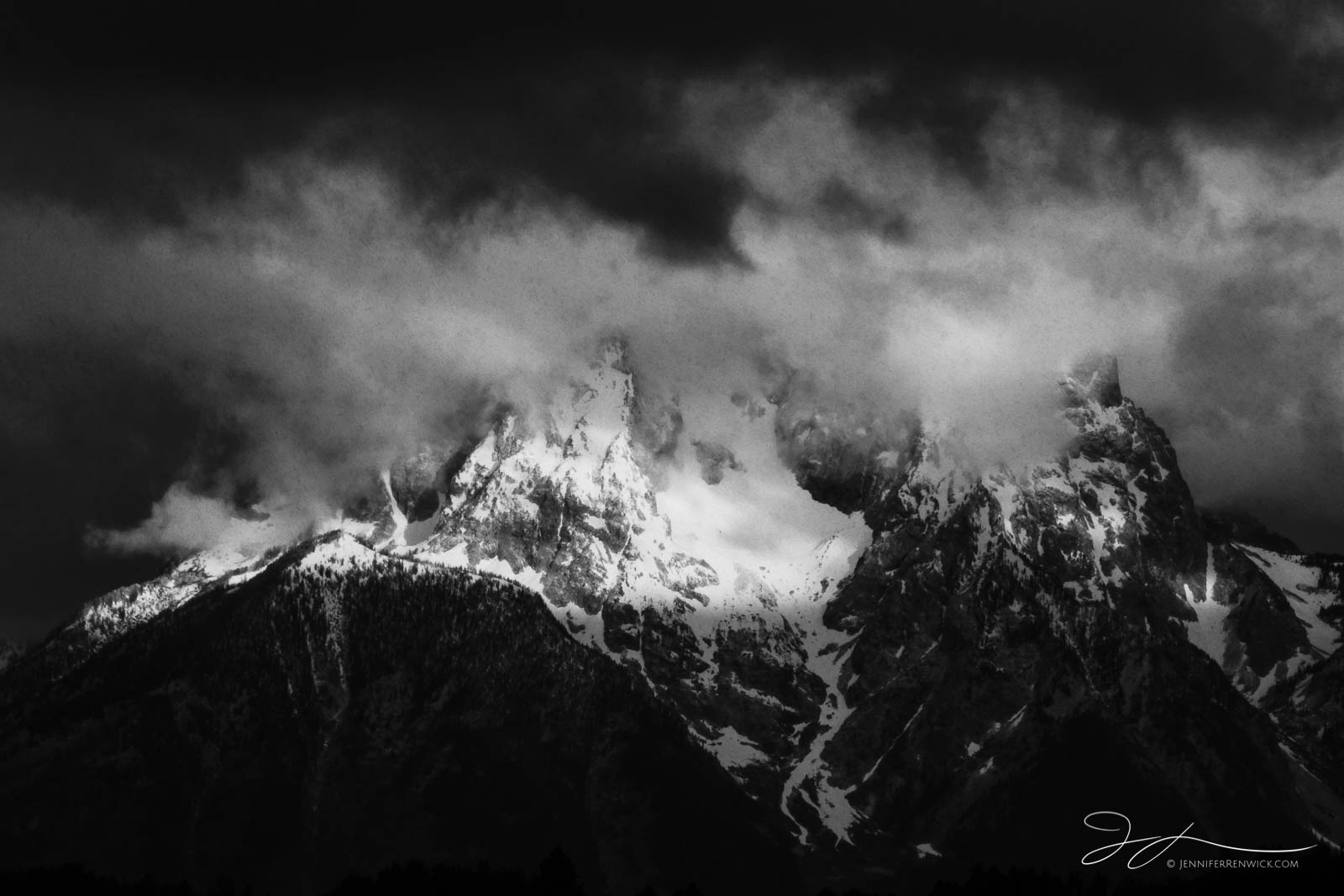 Grand Teton National Park, Wyoming, mountains, snow, landscape, trees, Jackson Hole, clouds, black and white, monochrome, rain, storm, Mt. Moran, photo