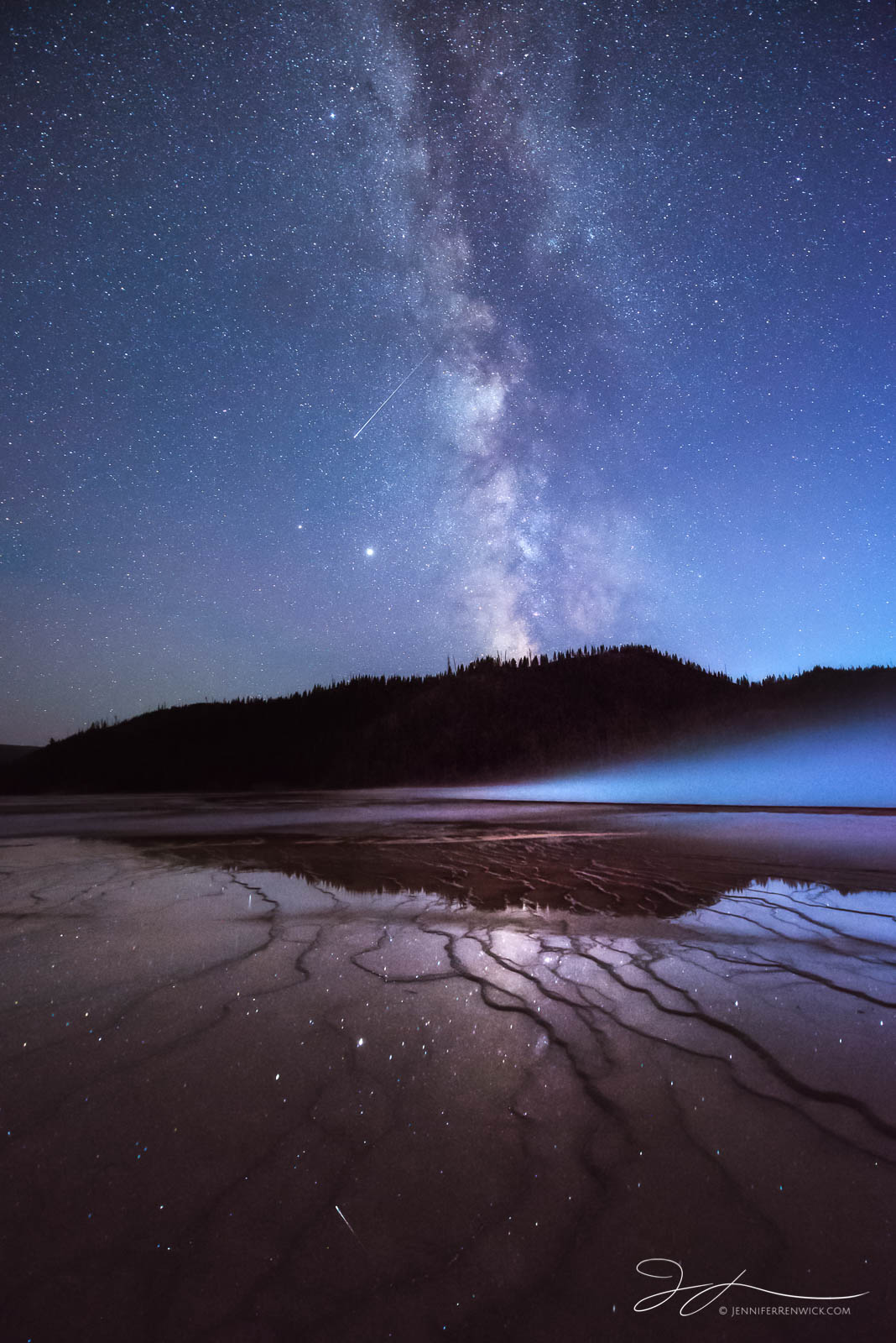 Gand Prismatic Spring, Midway Geyser Basin, Yellowstone national park, astrophotography, autumn, core, hot spring, meteor, milky way, night sky, reflection, stars, steam, terraces, wyoming, photo