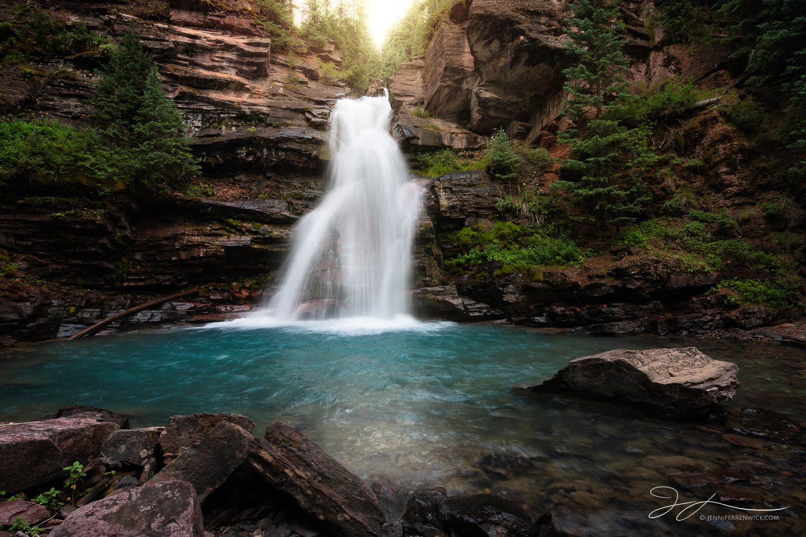 Colorado, San Juan Mountains, landscape, waterfall, summer, river, small scene, sunset, Silverton, photo