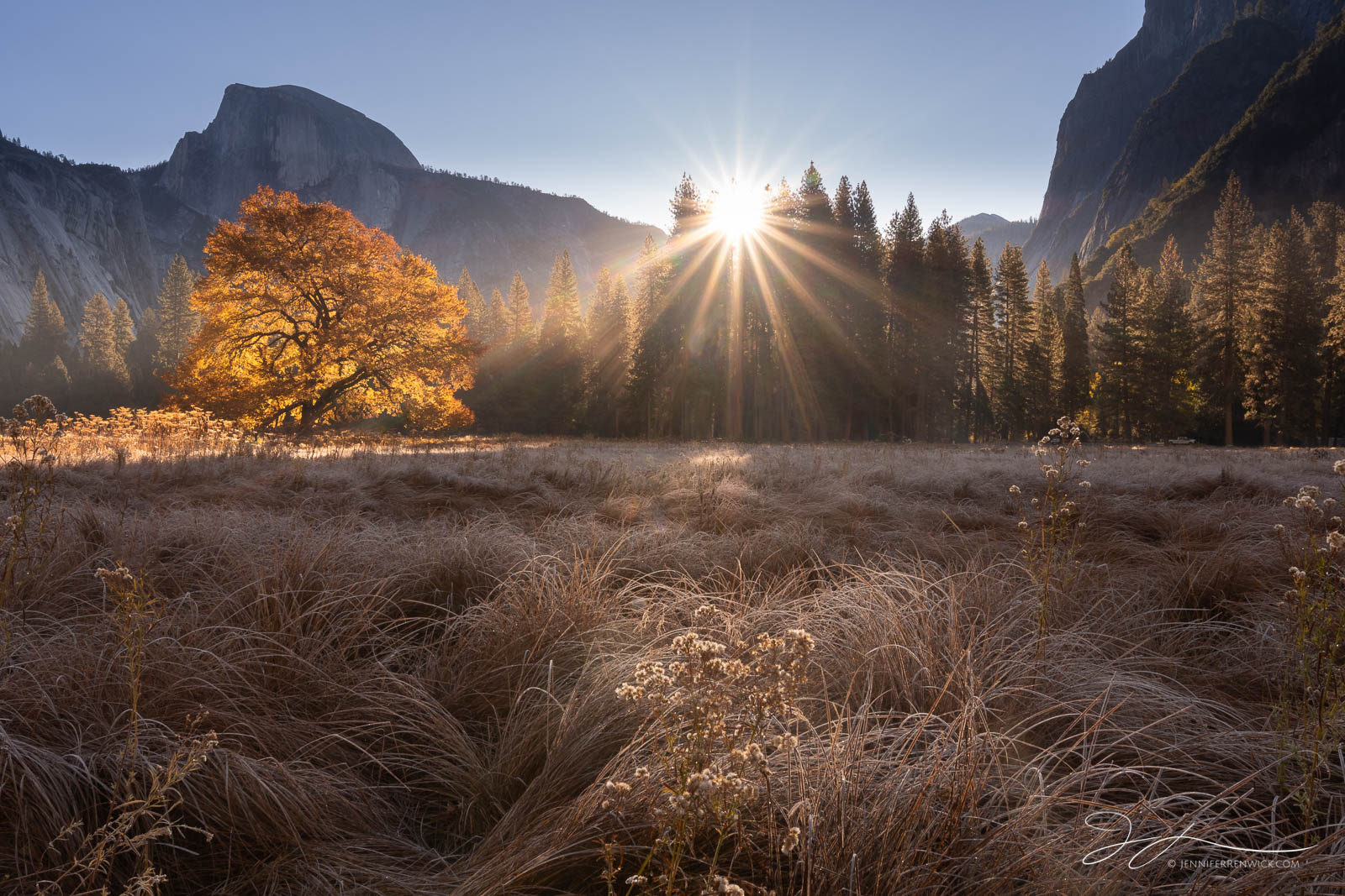 Yosemite National Park, autumn, California, cook's meadow sunrise, half dome, landscape, morning, photo