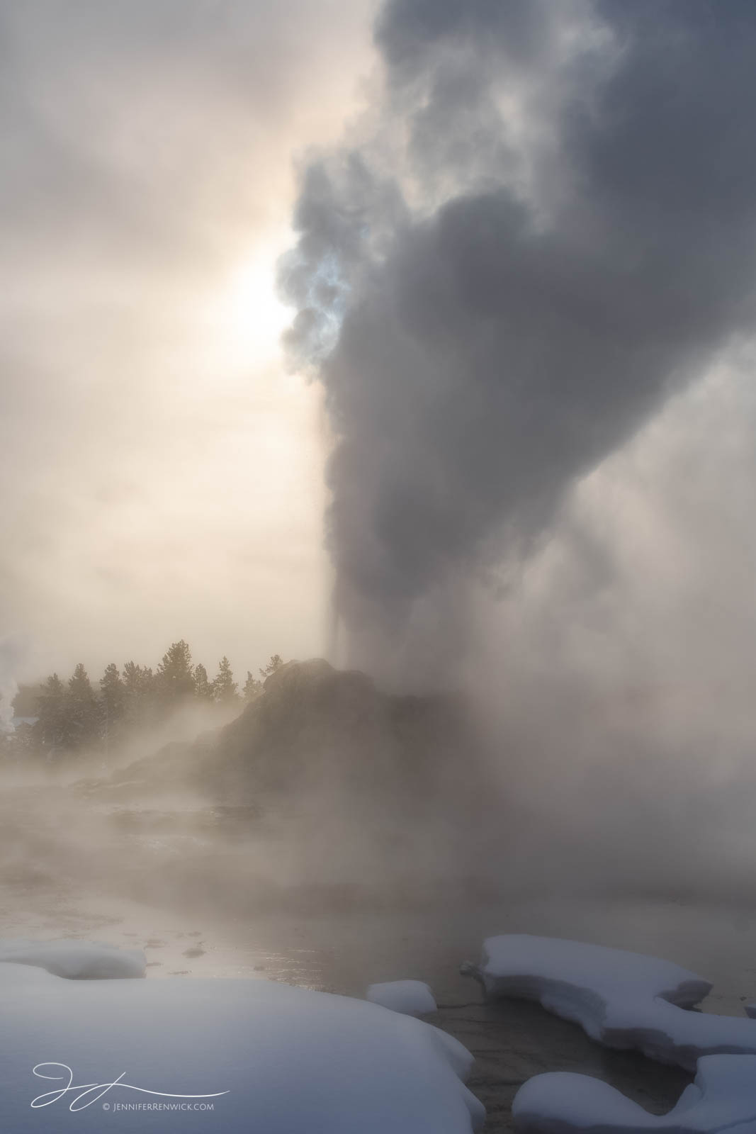Upper Geyser Basin, Yellowstone national park, steam, sunrise, Wyoming, thermal feature, castle geyser, winter, snow, erupting, landscape, photo